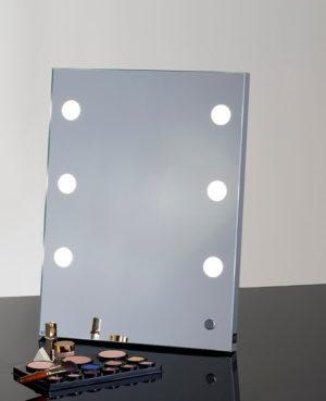 Spiegel zum Aufstellen, Hängen und Mitnehmen, Makeup Spiegel mit 6 LED