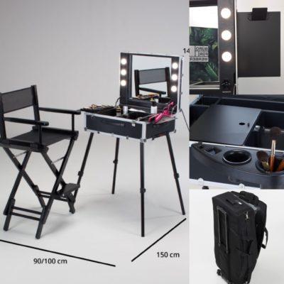 Cantoni Package Comfort mit Hair- und Make Up Trolley VT101C, höhenverstellbarem Stuhl S102N. Trage- und Trolleytasche für den Stuhl, sowie Zubehörhalter und Vorlagenhalter